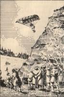 Szimeon fiának sikeres ejtőernyős ugrás egy sziklafalról