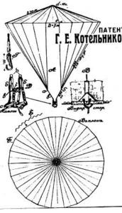 Nyikolja Kotyelnyikov ejtőernyőjének vázlata